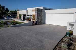 Exposed aggregate driveway in Perth suburb